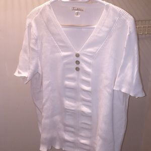 Tradition 1X white short sleeve top